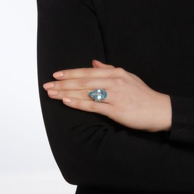 View 4. Thumbnail of Lot 56. Aquamarine and diamond ring.