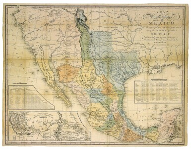 View 1. Thumbnail of Lot 260. Tanner, H.[enry] S.[chenck] |  An important map of Mexico and the southwestern United States, depicting Texas in its largest form.