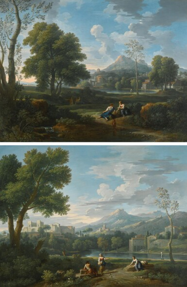 JAN FRANS VAN BLOEMEN, CALLED ORIZZONTE | An Italianate landscape with two women conversing with a shepherd, a castle beyond; and An Italianate landscape with women conversing on a path by a brook, a lake and mountain beyond