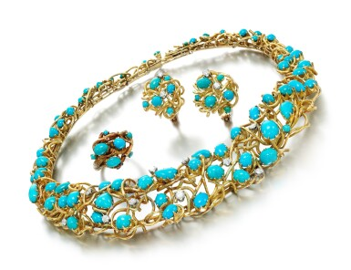 View 1. Thumbnail of Lot 85. TURQUOISE AND DIAMOND PARURE.