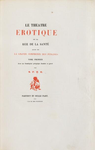 View 3. Thumbnail of Lot 87. Le Théâtre érotique de la rue de la Santé]. 1864. Très rare éd. or, exemplaire sur Chine, gravures de Rops.