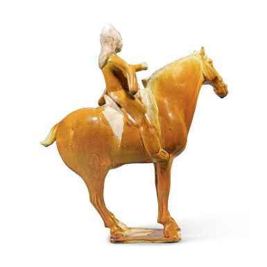 View 2. Thumbnail of Lot 211. A RARE AMBER-GLAZED FIGURE OF AN EQUESTRIAN DRUMMER, TANG DYNASTY | 唐 黃釉胡人騎馬陶俑.