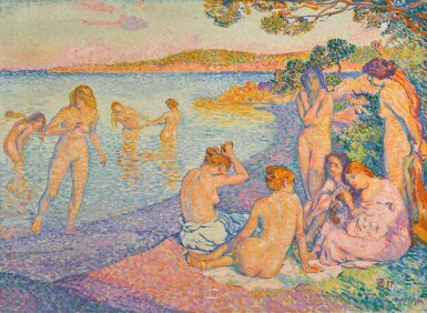 View full screen - View 1 of Lot 347. THÉO VAN RYSSELBERGHE | ESQUISSE POUR L'HEURE EMBRASÉE.
