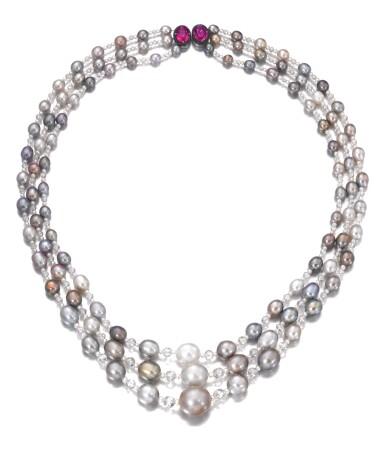 View 1. Thumbnail of Lot 126. Natural pearl, diamond and ruby sautoir/necklace combination | 天然珍珠配鑽石及紅寶石長項鏈/項鏈組合.