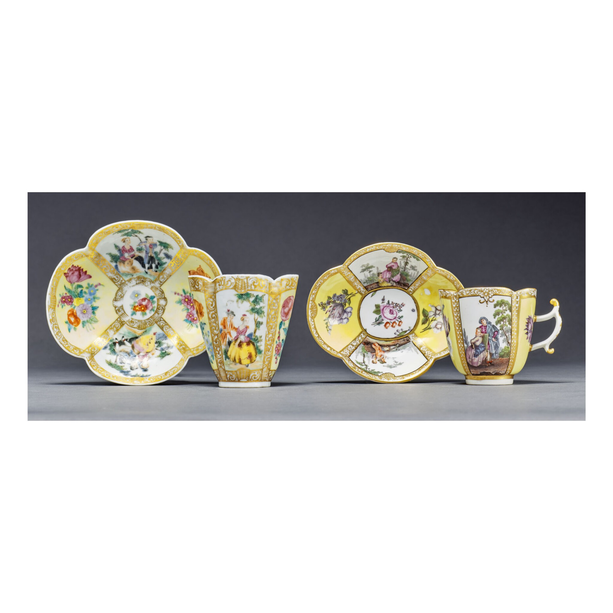 A MEISSEN YELLOW-GROUND QUATREFOIL CUP AND A SAUCER AND A RARE CHINESE EXPORT FAMILLE-ROSE QUATREFOIL BEAKER AND SAUCER CIRCA 1740 AND QING DYNASTY, TONGZHI PERIOD, CIRCA 1865 | 約1740年 邁森開光黃地花卉人物圖海棠式盃連盞 清同治 約1865年 粉彩開光黃地花卉人物圖海棠式盃連盞