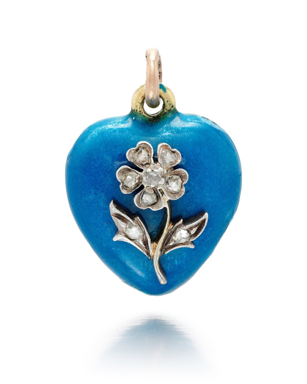 A JEWELLED GOLD AND ENAMEL HEART-SHAPED PENDANT, ST PETERSBURG, 1899-1903