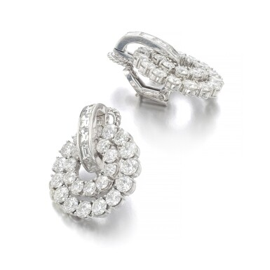 View 2. Thumbnail of Lot 1012. Pair of diamond ear clips.