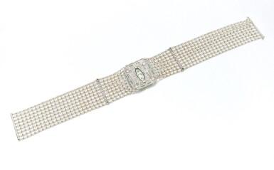 View 4. Thumbnail of Lot 145. Seed pearl, diamond and emerald collier de chien (Collana in microperle, diamanti e smeraldi).