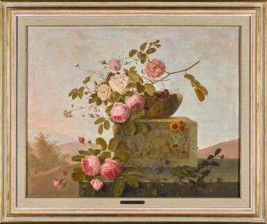 View 2. Thumbnail of Lot 11. EMMANUEL FRIES | ROSES ON A CLASSICAL LEDGE.