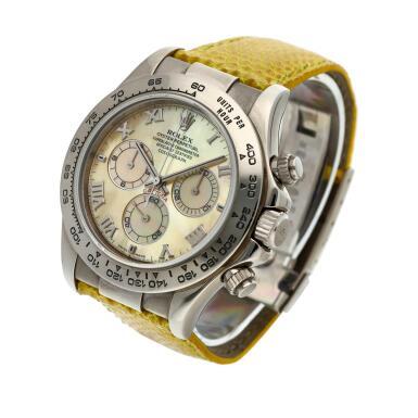 View 3. Thumbnail of Lot 209. Reference 116519 'Daytona Beach'  A white gold automatic chronograph wristwatch, Circa 2000.