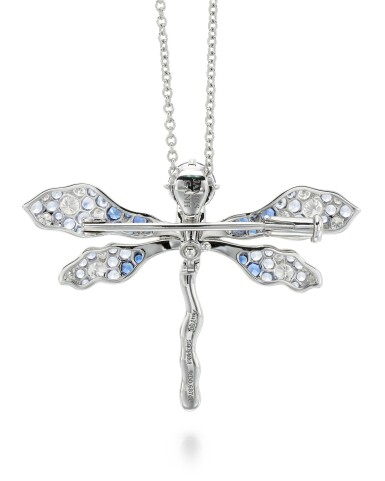 View 3. Thumbnail of Lot 288. JAMES GANH | SAPPHIRE AND DIAMOND BROOCH/PENDANT NECKLACE, 'BLUE DRAGONFLY'.