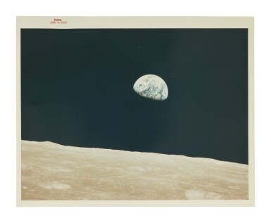 """View 1. Thumbnail of Lot 82. [APOLLO 8]. EARTHRISE. VINTAGE NASA """"RED NUMBER"""" PHOTOGRAPH."""
