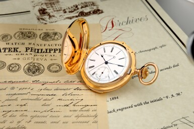 View 9. Thumbnail of Lot 40. PATEK PHILIPPE | A PINK GOLD MINUTE REPEATING HUNTING CASED SPLIT SECONDS CHRONOGRAPH WATCH, MADE IN 1892.