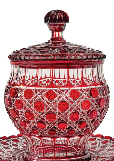 View 2. Thumbnail of Lot 326. A FRENCH RED-TINTED CUT-GLASS PUNCH BOWL, COVER AND STAND, LATE 19TH CENTURY.