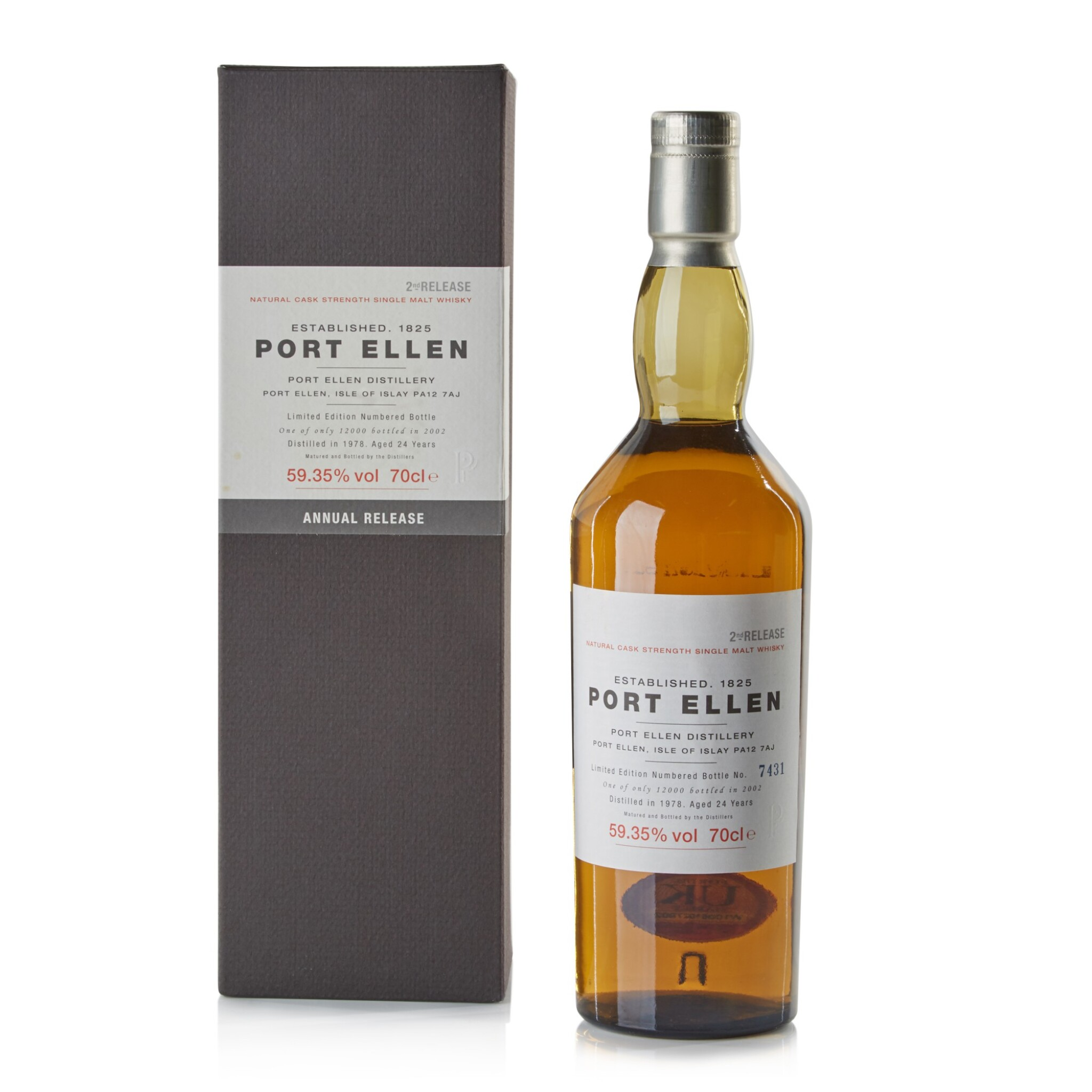 View full screen - View 1 of Lot 102.  Port Ellen Second Annual Release 24 Year Old 59.35 abv 1978 .
