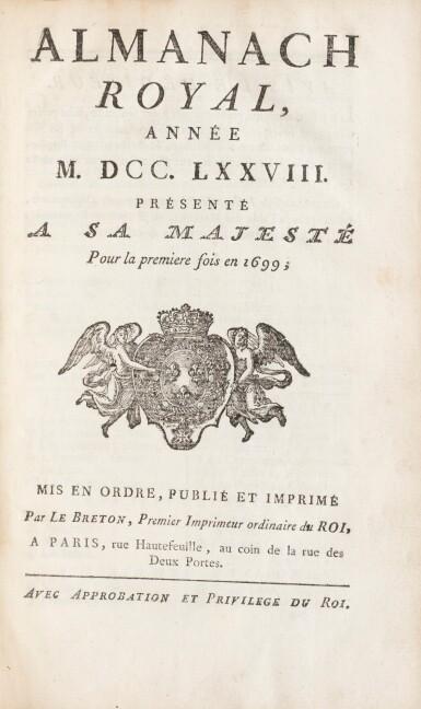 View 2. Thumbnail of Lot 1. Réunion de trois volumes en maroquin rouge aux armes ornés de plaque de Dubuisson..