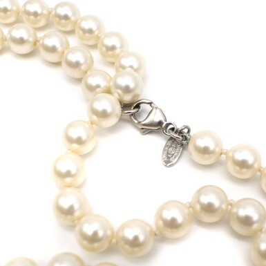 View 6. Thumbnail of Lot 165. CHANEL | IVORY FAUX PEARL DOUBLE STRAND NECKLACE WITH FAUX PEARL EMBELLISHED CC PENDANTS AND LOBSTER CLASP CLOSURE, 2012.