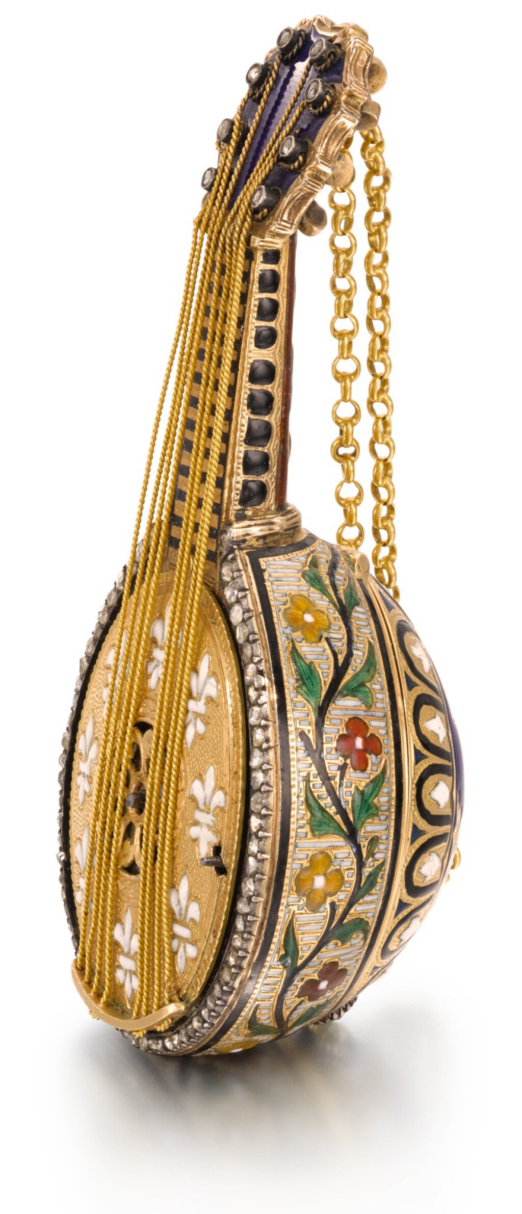 AUSTRIAN | A TWO-COLOUR GOLD AND ENAMEL MANDOLIN-FORM WATCH WITH MUSICAL MOVEMENT  LATE 19TH CENTURY