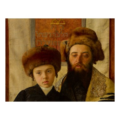 View 1. Thumbnail of Lot 43. ISIDOR KAUFMANN   PORTRAIT OF A RABBI WITH A YOUNG PUPIL.