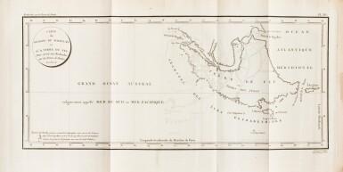 View 3. Thumbnail of Lot 205. FLEURIEU -- [MARCHAND].Voyage autour du monde. An VI - An VIII. 3 vol in-4 et un Atlas in-4. Veau flammé de l'époque.