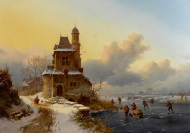 View 1. Thumbnail of Lot 84. Winter Landscape with Skaters.