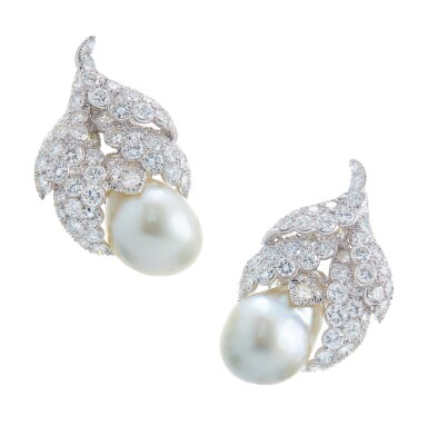 View 1. Thumbnail of Lot 47. DAVID WEBB | PAIR OF CULTURED PEARL AND DIAMOND EARCLIPS.