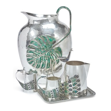A MASSIVE MEXICAN SILVER-PLATED AND HARDSTONE PITCHER, EMILIA CASTILLO, TAXCO, 20TH CENTURY