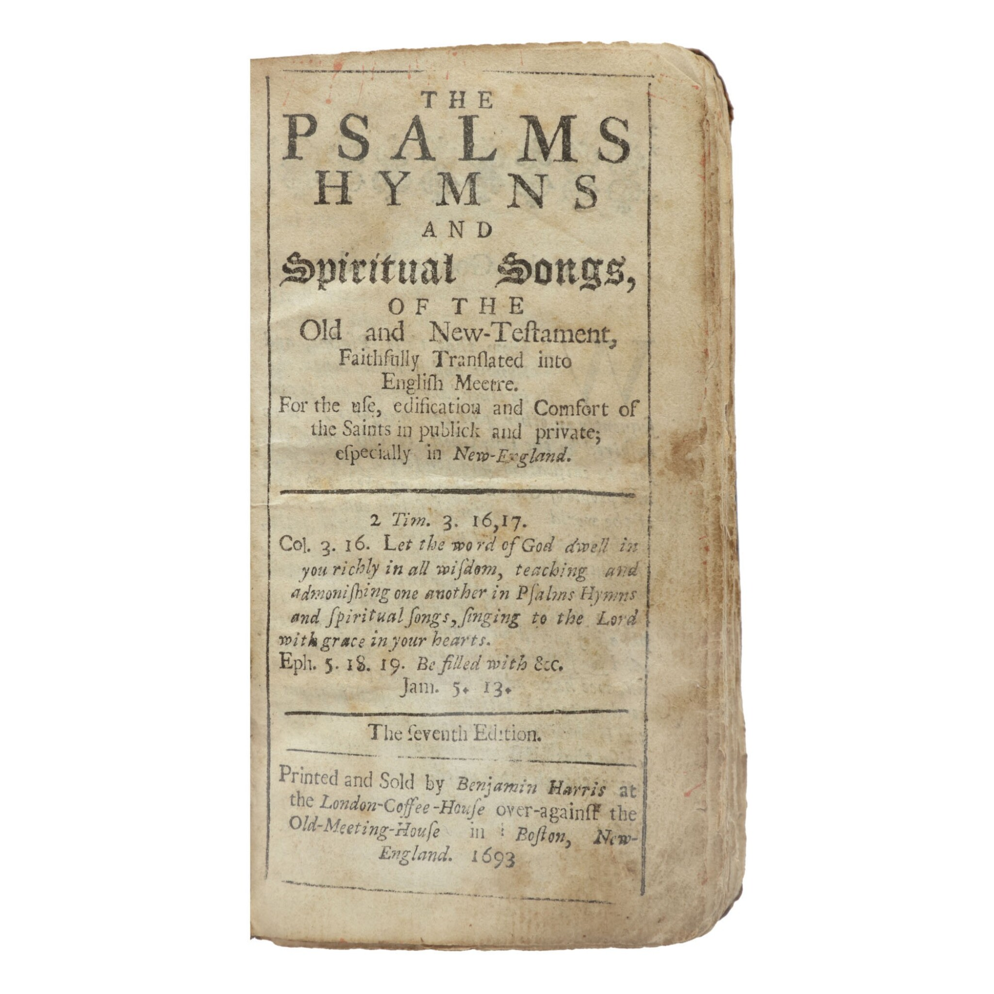 View full screen - View 1 of Lot 390. Psalms: The Bay Psalm Book | The unique surviving copy of the earliest obtainable American edition of the Bay Psalm Book.