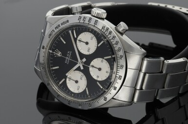 View 8. Thumbnail of Lot 1. ROLEX | REFERENCE 6239 'DOUBLE SWISS UNDERLINE' DAYTONA   A STAINLESS STEEL CHRONOGRAPH WRISTWATCH WITH REGISTERS, CIRCA 1963.