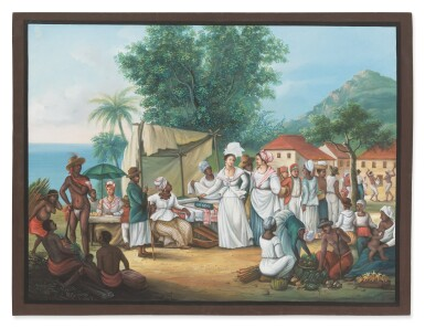 View 1. Thumbnail of Lot 663. A linen market with a linen-stall and vegetable seller in the West Indies.
