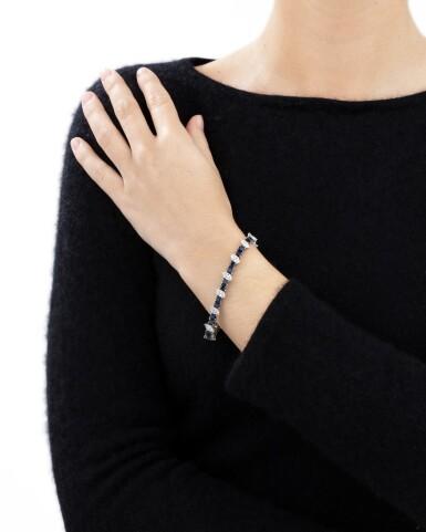 View 4. Thumbnail of Lot 91. Sapphire and diamond bracelet [Bracelet saphirs et diamants].