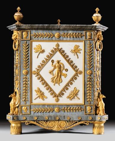 View 3. Thumbnail of Lot 20. A PAIR OF WHITE AND BLEU TURQUIN MARBLE JARDINIÈRES, WITH MERCURY GILT-BRONZE MOUNTS, LATE LOUIS XVI, CIRCA 1790-1800, THE MOUNTS BY FORESTIER PROBABLY AFTER A DESIGN BY JEAN-DÉMOSTHÈNE DUGOURC, PURCHASED IN PARIS AND DELIVERED TO THE KING OF SPAIN, CHARLES IV IN 1802   PAIRE DE CAISSES JARDINIÈRES EN MARBRES BLANC ET BLEU TURQUIN À MONTURE DE BRONZE DORÉ AU MERCURE DE LA FIN DE L'ÉPOQUE LOUIS XVI, VERS 1790-1800, LES BRONZES PAR FORESTIER PROBABLEMENT D'APRÈS UN DESSIN DE JEAN-DÉMOSTHÈNE DUGOURC, ACHETÉE À PARIS ET LIVRÉE POUR LE ROI D'ESPAGNE CHARLES IV EN 1802.