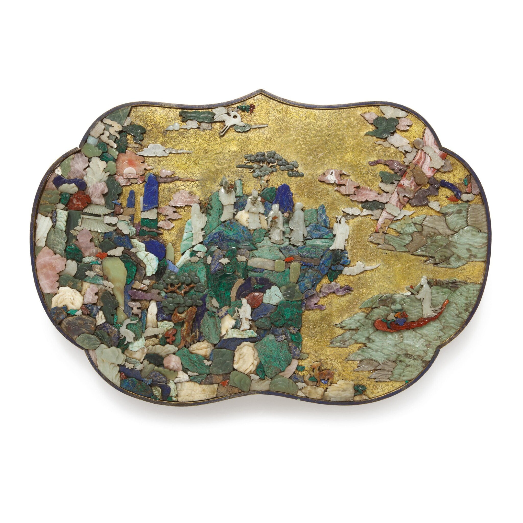 View 1 of Lot 669. AN EXTRAORIDINARY AND RARE 'DAOIST IMMORTALS' HARDSTONE-INLAID PANEL, QING DYNASTY, QIANLONG PERIOD.