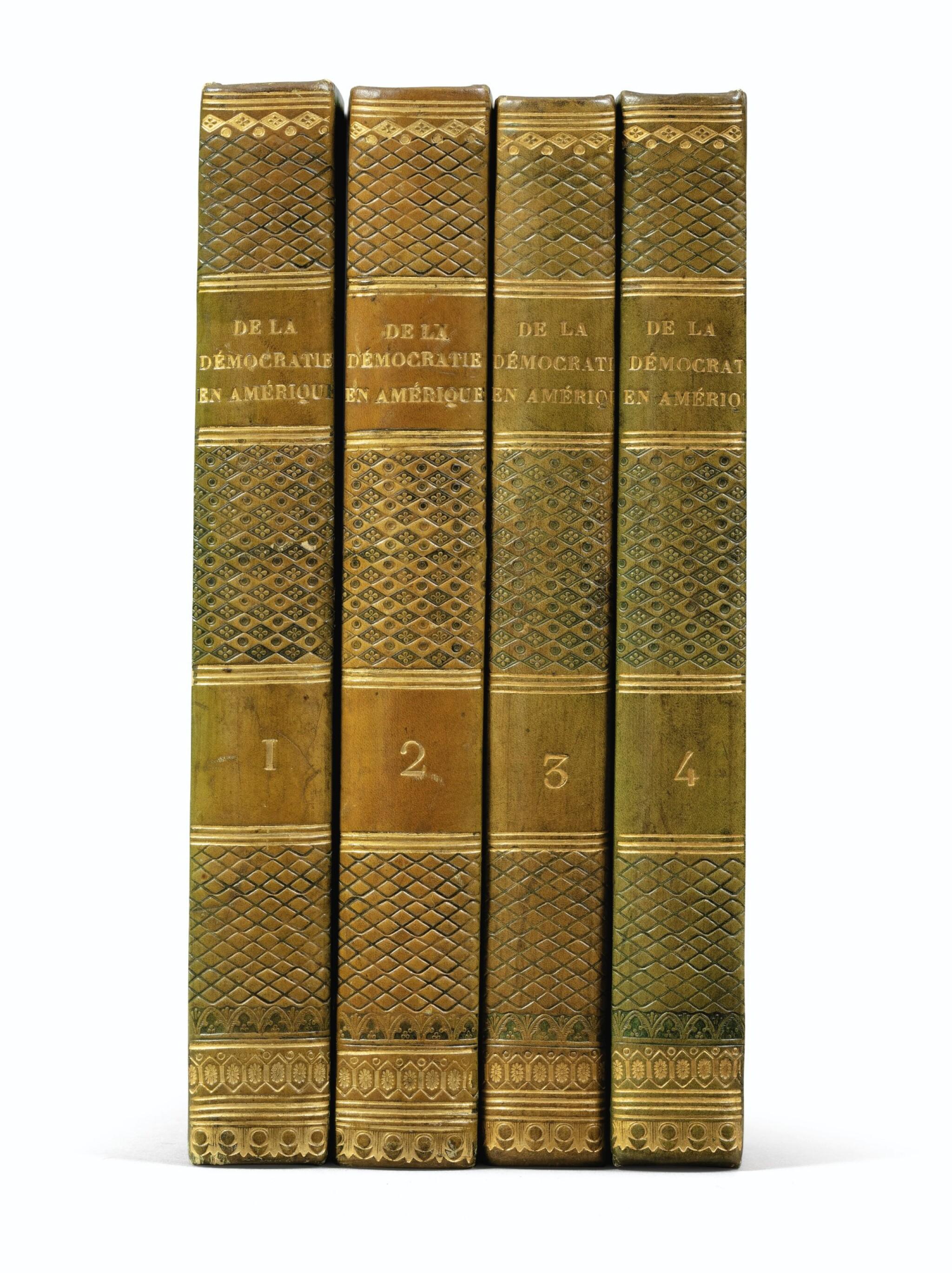 View full screen - View 1 of Lot 179. De la démocratie en Amérique. 1835-1840. 4 vol. Rare en reliure époque. Ex-Libris Georges Pompidou..