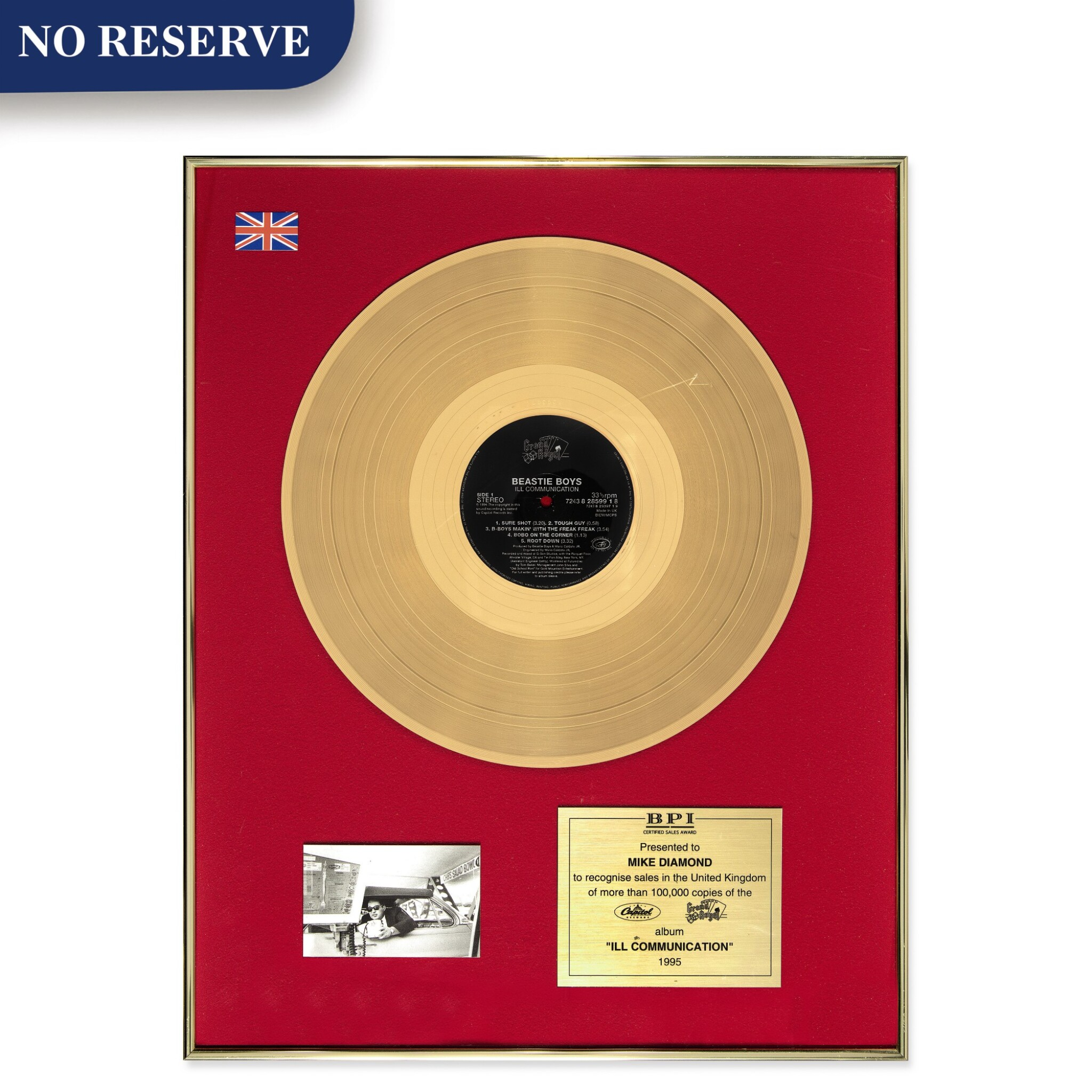 "BPI 1995 Gold Sales Award presented to Mike Diamond for the Beastie Boys 1994 album ""Ill Communication"""
