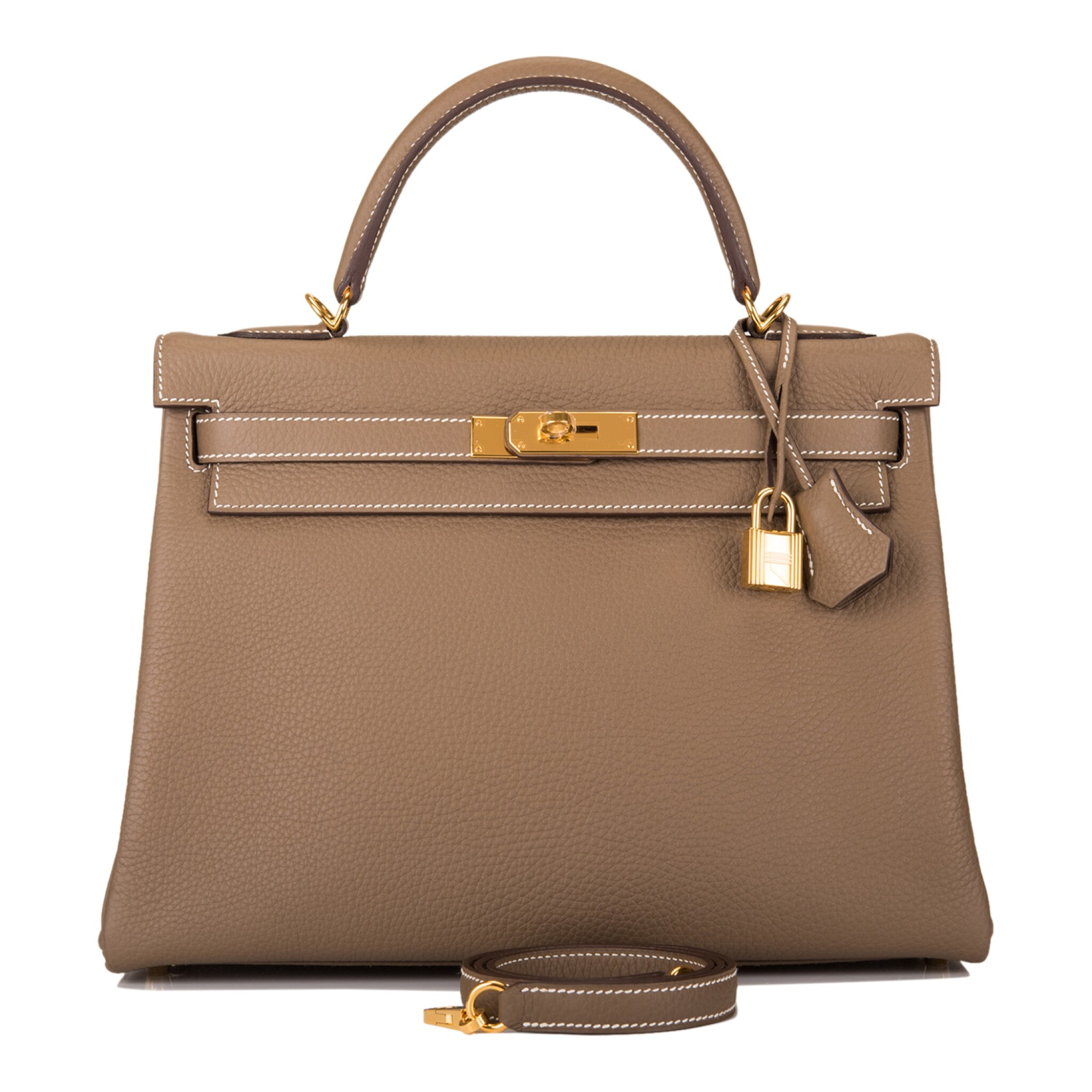 View full screen - View 1 of Lot 70. HERMÈS | ETOUPE RETOURNE KELLY 32CM OF TAURILLON CLEMENCE LEATHER WITH GOLD HARDWARE.