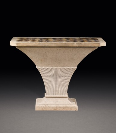 View 1. Thumbnail of Lot 150. A GEORGE III PORTLAND STONE, BLUE JOHN, SPECIMEN MARBLES AND FOSSILISED LIMESTONE TABLE, THE TOP LATE 18TH/EARLY 19TH CENTURY, THE STAND MODERN.