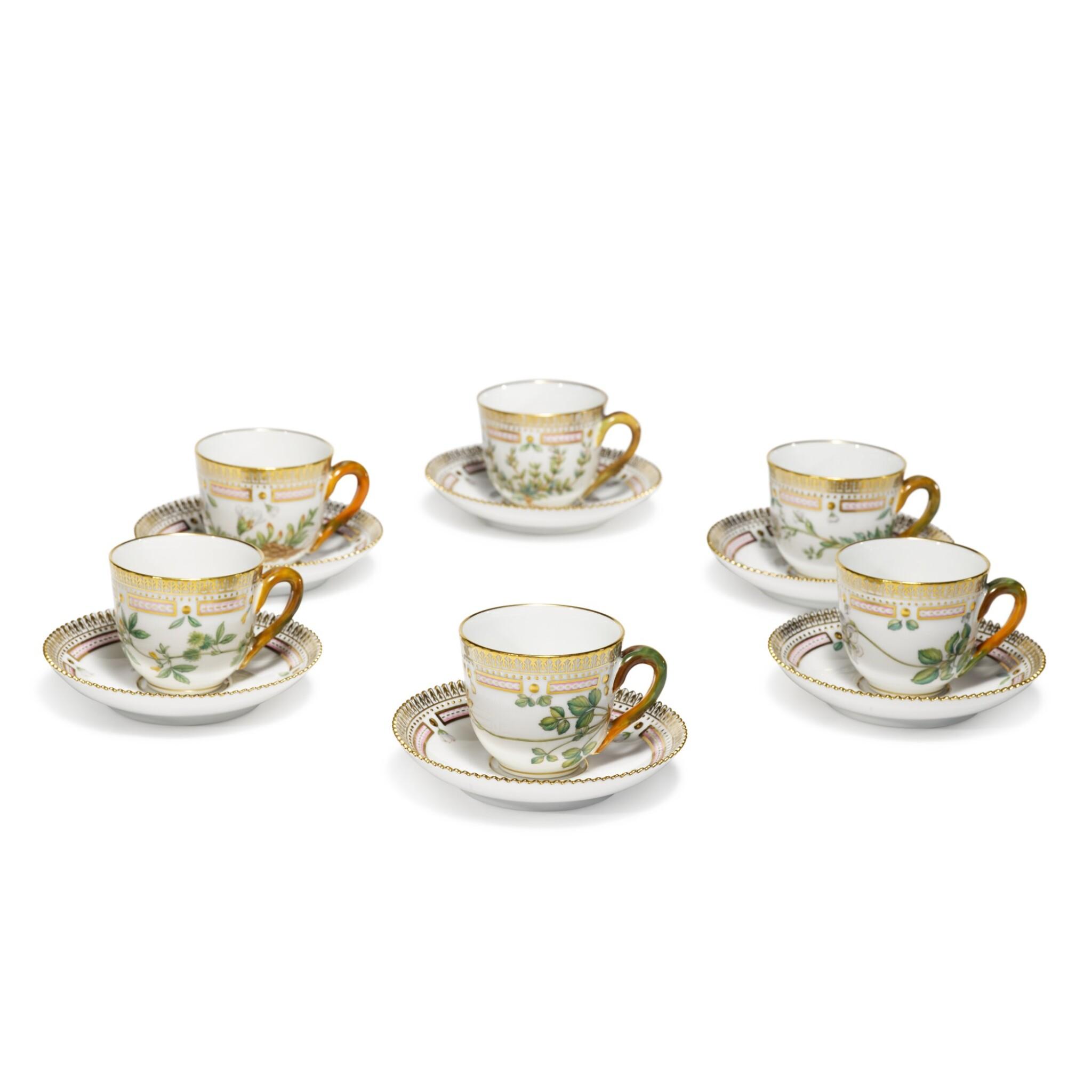 View full screen - View 1 of Lot 6. Six Royal Copenhagen 'Flora Danica' Demi-Tasse Cups and Saucers, Modern.