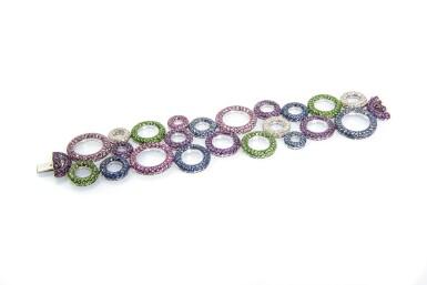View 3. Thumbnail of Lot 11. Gem set and diamond bracelet, 'Bubbles', Michele della Valle.