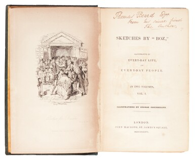 Dickens, Sketches by Boz, First and Second Series, 1836-1837, first editions inscribed to Thomas Beard