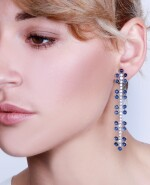 Pair of sapphire and diamond pendent earrings, Michele della Valle