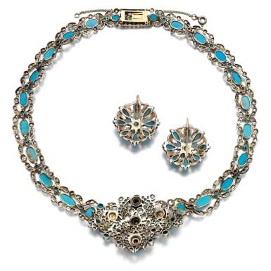 View 3. Thumbnail of Lot 78. Turquoise and diamond demi-parure, 1840s and later.