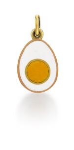 A Fabergé gold and enamel egg pendant, 1906