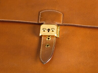 View 3. Thumbnail of Lot 25. SAC À DÉPÊCHES 38 EPSOM LEATHER IN GOLD COLOR WITH GOLD HARDWARE. HERMÈS, 1990 .