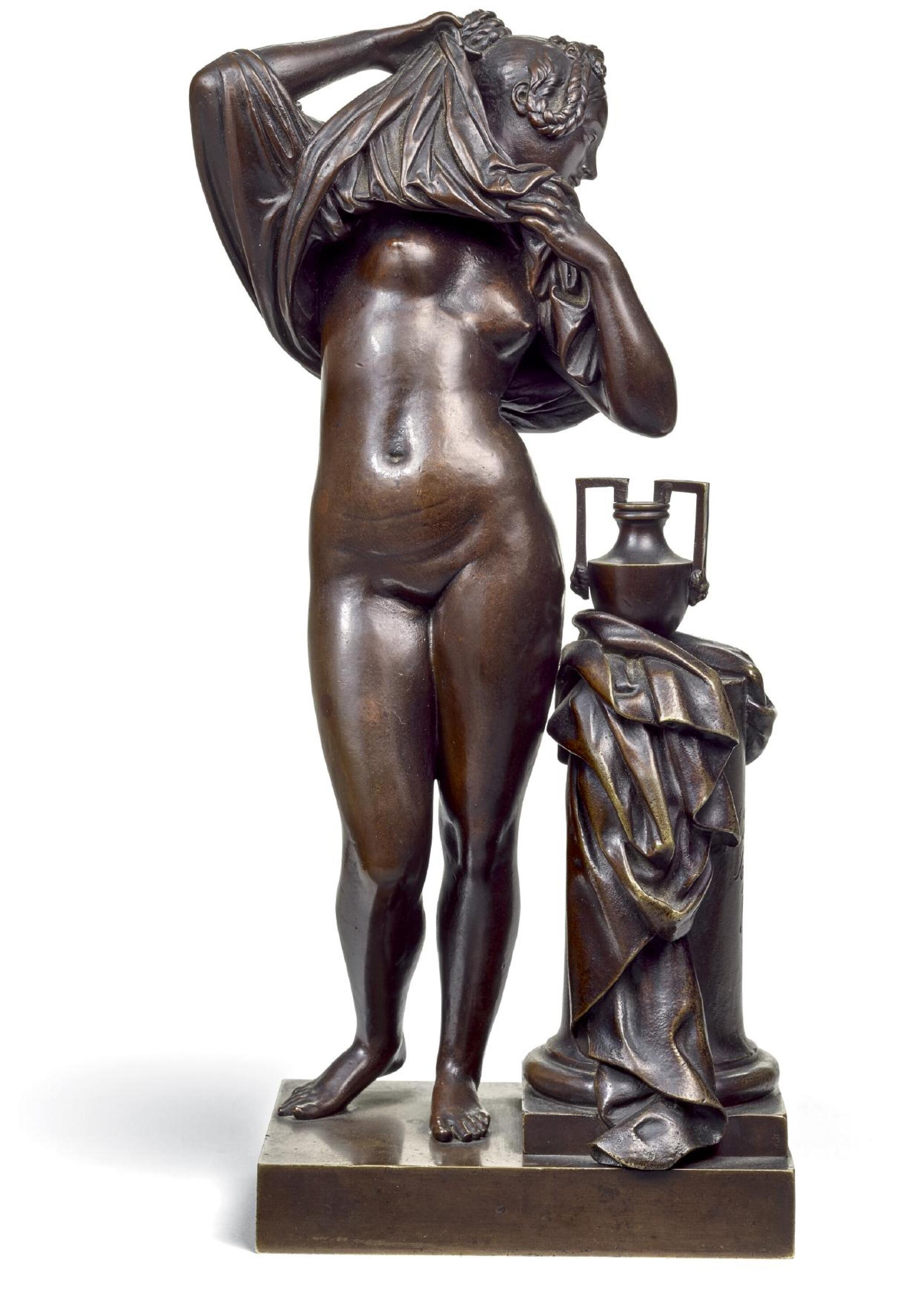 View full screen - View 1 of Lot 39. JEAN-JACQUES PRADIER, CALLED JAMES    FEMME OTANT SA CHEMISE (WOMAN UNDRESSING).