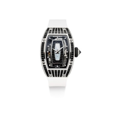 RICHARD MILLE | RM07, A BRAND NEW WHITE GOLD, DIAMOND AND BLACK BAGUETTE-CUT SAPPHIRE-SET SEMI-SKELETONISED WRISTWATCH WITH MOTHER-OF-PEARL DIAL, CIRCA 2019