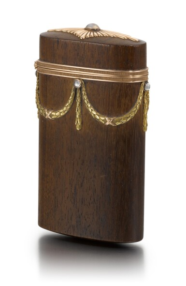 View 1. Thumbnail of Lot 50. A varicolour gold-mounted and palisander wood etui, Anna Ringe, St Petersburg, 1899-1903.