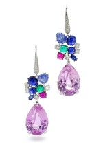 MICHELE DELLA VALLE   PAIR OF GEM SET AND DIAMOND PENDENT EARRINGS