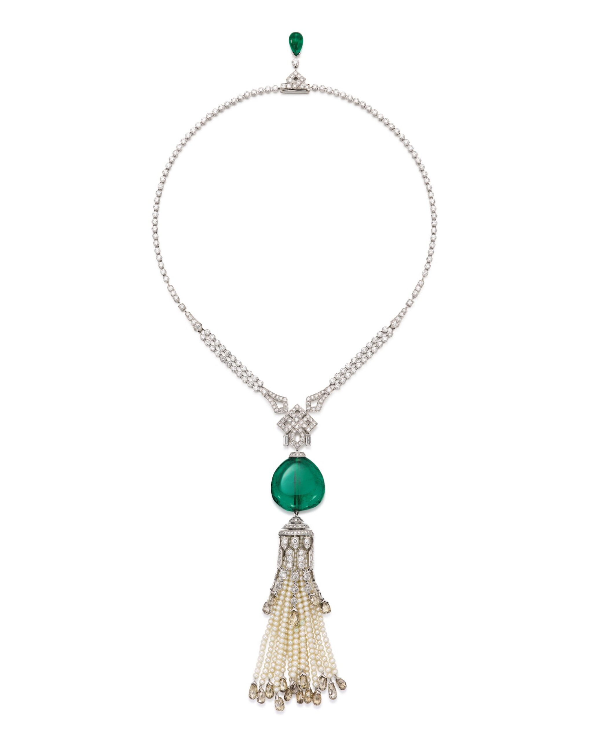 View full screen - View 1 of Lot 1737. Cartier | Emerald, Seed Pearl and Diamond Pendent Necklace | 卡地亞 | 42.09克拉「哥倫比亞」祖母綠 配 珍珠 及 鑽石 項鏈.