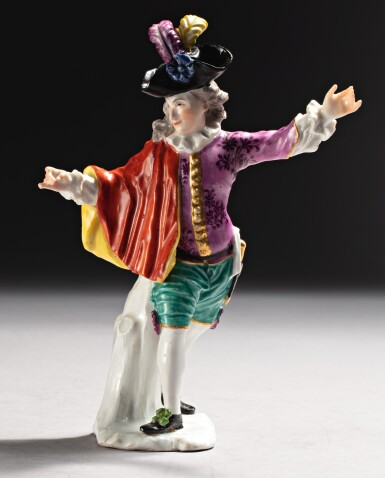 A RARE MEISSEN FIGURE OF A DANCER, 'L'INDIFFÉRENT' THE PORCELAIN CIRCA 1740, THE DECORATION LATER